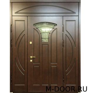 Парадная дверь Жемчужина МДФ (Винорит) с ковкой и стеклом 5