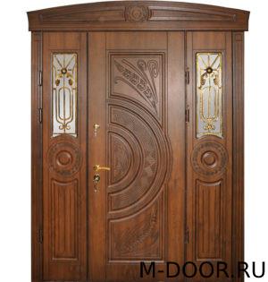 Парадная дверь Алессандрия МДФ (Винорит) с ковкой и стеклом 5
