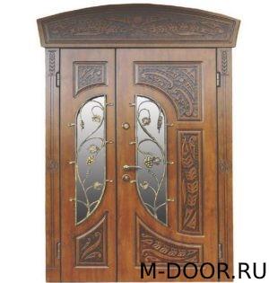Парадная дверь Бергамо МДФ (Винорит) с ковкой и стеклом 2