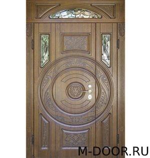Парадная дверь Лев МДФ (Винорит) с ковкой и стеклом 4