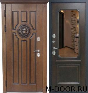 Входная металлическая дверь Леон МДФ (ПВХ) с зеркалом 4