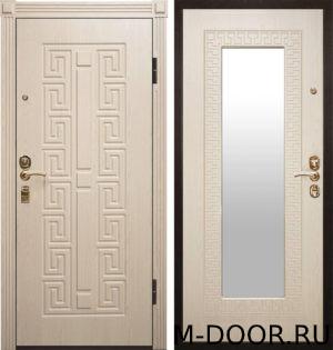 Дверь металлическая Греция МДФ (ПВХ) с зеркалом 2