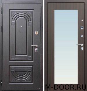 Стальная дверь Париж МДФ (ПВХ) с зеркалом 2