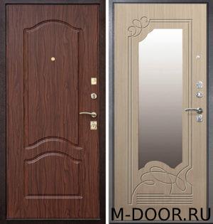 Входная стальная дверь МДФ Савана (ПВХ) с зеркалом 1