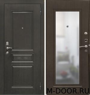 Стальная входная дверь Днестр МДФ (ПВХ) с зеркалом 2