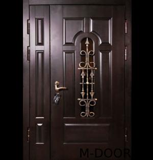 Стальная входная дверь в коттедж Монарх МДФ с ковкой и стеклом 11