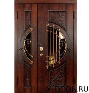 Дверь металлическая в коттедж Муза МДФ с ковкой и стеклом 1
