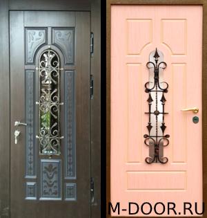 Дверь стальная в коттедж Контраст МДФ с ковкой и стеклом 3