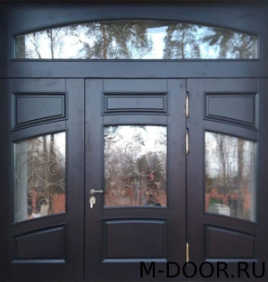 Дверь входная в коттедж Величие МДФ с ковкой и стеклом 3