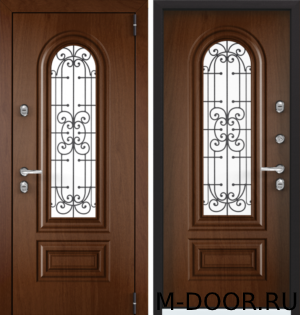 Дверь стальная в коттедж Готика МДФ с ковкой и стеклом 16