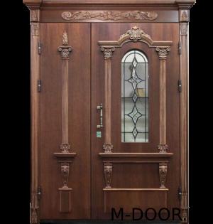 Стальная дверь в коттедж Милорд МДФ с ковкой и стеклом 17